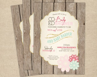 Baby Girl Shower Invitation, Vintage, Co-ed Shower, Rustic, Pink, Gold, Mint, Blush, Floral, Custom, Couples, Raspberry, Cottage Chic