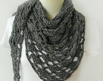 Gray Knitted Shawl - Grey Winter Scarf - Triangle Shawl - Dark Gray Crochet Shawl
