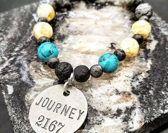 Journey Charm, Healing, Handmade, Beaded Bracelet, Lava Stones, Aromatherapy, Stretchy Wire, Unique, One Of A Kind, Blue Beads, Beads, Oils