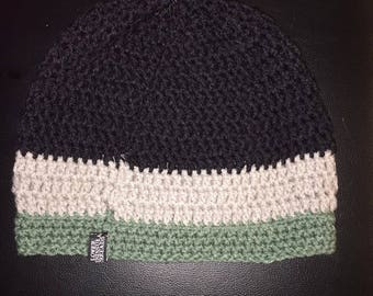 Black and Green Colorblock Beanie