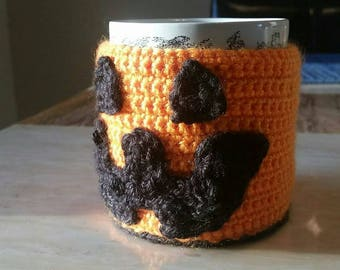 Coffee Cup Sweater / Koozie with Wood Button