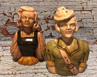 Vintage Robin Hood and Maid Marian Salt and Pepper Shakers