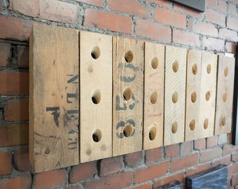 Custom one of a kind reclaimed solid wood 21 bottle wine rack