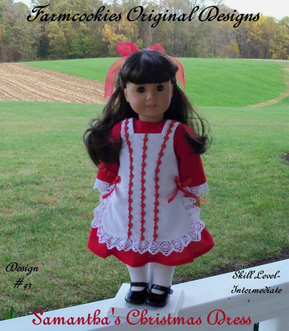 """PRINTED Sewing Pattern / Samantha's Christmas Dress /  Fits American Girl ® or Other 18"""" Dolls"""