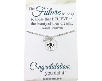 Graduation Gift - Compass necklace, silver or gold,  graduate gift for her, college graduation, choose carded with quote or in a gift box