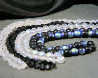 Czech Glass Beads Matte Tuxedo Mix Four Strands Assortment