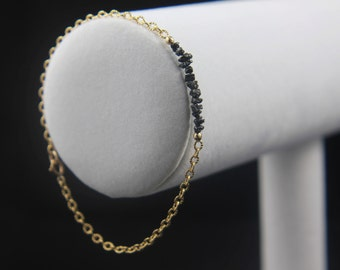 Rough Diamond Bracelet - 14K Gold Filled Ribbed Chain - Black Raw Diamonds - Bridesmaid Gift, Wedding