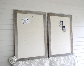 Barnwood Frame MAGNETIC Bulletin Board PAIR - Reclaimed Recycled Weathered Gray Rustic Wood 29.5 x 41.5 Handmade Frame - Ivory Burlap Fabric