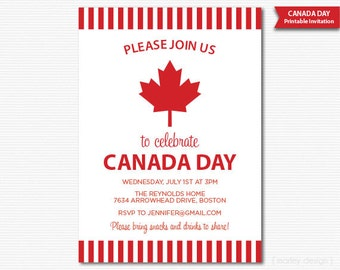 Canada Day Party Invitation Printable Invitation Canada Day Invitation Barbeque Maple Leaf Canada Day Printables Digital Invite