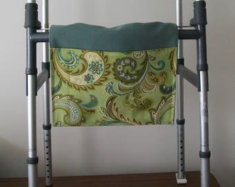 Walker Tote - lime turquoise brown paisley organizer - wheelchair bag accessory - floral walker pouch - assisted living aid - senior gift