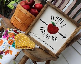 Fall Apple Orchard Sign | Farmhouse Fall Decor | Fall Sign | Autumn Sign | Autumn Decor | Cider Sign | Thanksgiving Sign | 12x12 Fall Sign