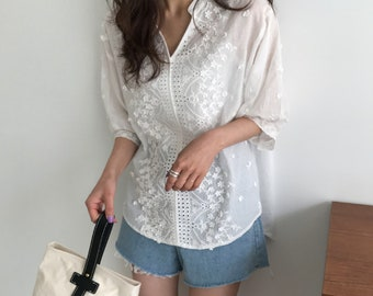 Pure cotton Romantic lace Blouse / lace tunics for women / eyelet tunic / bohemian tunic / eyelet top / eyelet blouse / omantic top/boho top