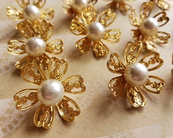 """Pearl and Gold Floral Buttons - Golden Filigree Pearl Center Shank Loop Button - 1"""" Wide - 1/2"""" Deep - 12 Buttons"""