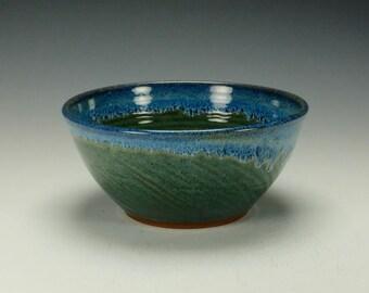 Stoneware pottery bowl.  Blue green gloss glaze.  Ready to ship.