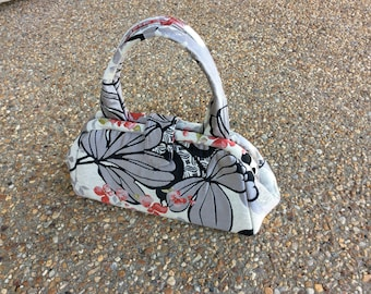 Gray Floral Upholstery Fabric Doctor Bag