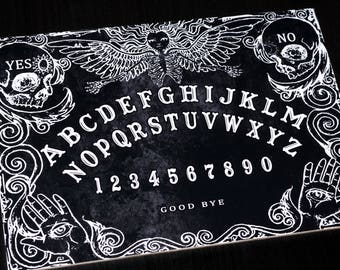 Wooden Black Ouija Board game & Planchette with detailed Instruction.