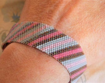 Gray Pink Brown Diagonal Peyote Stitch Handwoven Cuff Bracelet One of a Kind