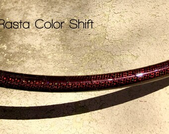 Rasta Dragon Taped Performance hula hoop / polycarbonate push button connector / Coils for Travel / Color Shifting Tape / Polypro Tubing