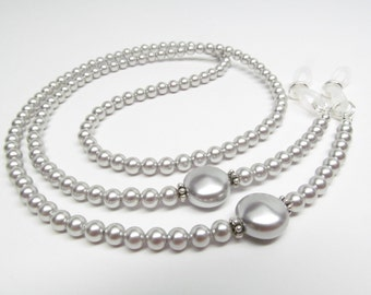 Silvery Gray Pearl Eyeglass Chain accented with silver, Reading Glasses Necklace Holder, Pearl Eye Glass Chain, Gray Eyeglass Leash