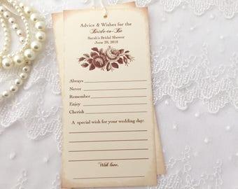 Bridal Shower Wish Tree Tags Set of 10 Guest Book Alternative Vintage Rose Floral