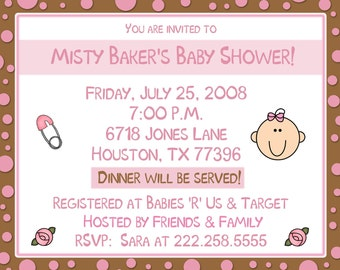 20 Baby Shower Invitations - Baby Pink and Chocolate Brown