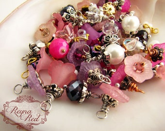 Pinks Charm Mix - Crystal, Resin, Czech Glass, flower charms, heart charms, cubes, rondelles, rounds, mixed charms - reynaredsupplies