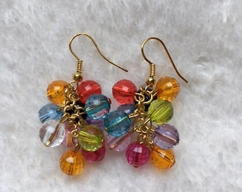Multicolour gold plated cluster earrings