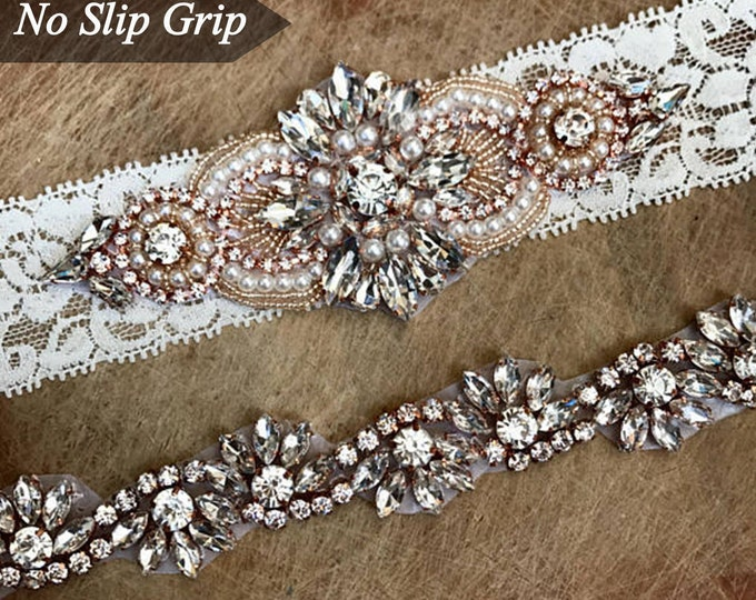 Crystal Rose Gold Ivory Wedding Garter Set NO SLIP grip vintage rhinestones B04-EB05