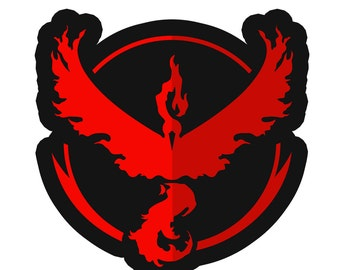 Team Valor (Red) Moltres Pokemon Go Sticker