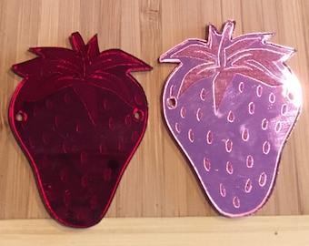 Wholesale customer laser cut mirror acrylic Strawberry pendants, 10 pieces