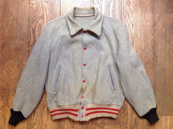 "Vintage 1960s 60s distressed trashed grey red wool MIT varsity college jacket 46"" chest Ivy League style rockabilly"