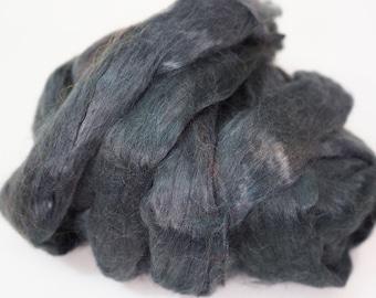 50g Grey Metallic Fog Viscose Fiber, Navy Viscose Fibre, Wet Felting, Nuno Felting, Spinning, Knitting, Weaving, Felting Supplies