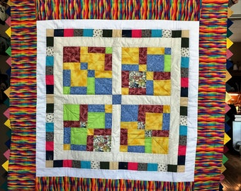 Quilt 45x46 Vibrant Rainbow of colors Handmade with Prairie Point Binding 100% New Cotton