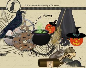 Halloween Digital Scrapbook Clusters. Halloween Fantastique Clusters, Digital Scrapbooking Clusters, Halloween Digital Clip Art