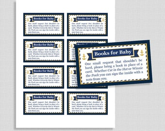 Nautical Baby Shower Book Request, Anchor Navy & Gold Baby Shower Invite Insert, Baby Boy, Books for Baby, DIY Printable, INSTANT DOWNLOAD