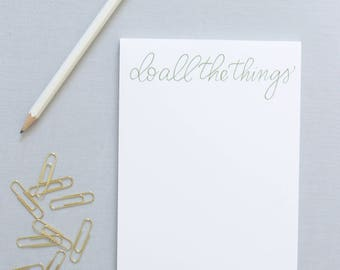 Do All The Things Notepad, Notepad with Hand lettered Calligraphy, Fun Notepad, Office Supplies, Gifts