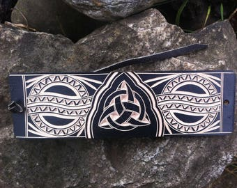 Black celtic triquetra hand carved leather bracelet - tooled leather jewelry