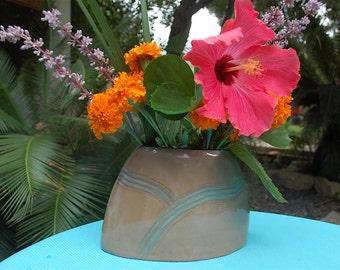Handmade Ceramic oval flower vase, hand built, modern, flower pot, rustic pottery
