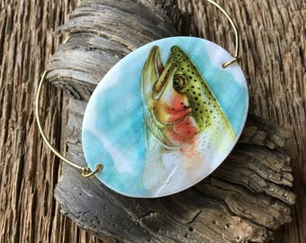 Trout bracelet: rainbow trout bangle, trout jewelry, rainbow trout cuff bracelet, fly fishing bracelet, fly fishing jewelry, fish bangle