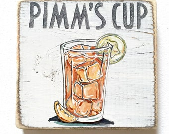 Pimm's Cup: Wood Sign, Cocktail Art, Southern Home Decor, New Orleans Home Bar, On The Rocks, Home Bar Decor, Summer Art