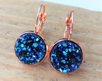 Galaxy-blau, Rose Gold Druzy Ohrringe, Faux Druse Brisur, 12mm Runde Rose Gold Ohrringe, Brautjungfer Druzy, Geschenk