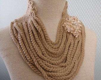 Crochet accessories, crochet scarf, women scarf, decorative scarf,  hand crochet scarf,  warm scarf, handmade scarf, knit scarf, champagne