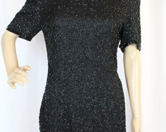 80s Lawrence Kazaar black silk beaded dress
