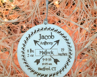 Baby Ornament,Personalized Baby's First Ornament,Deer Ornament, Birth Announcement, Baby Stats, Baby's First Christmas, Christmas Gift Tag