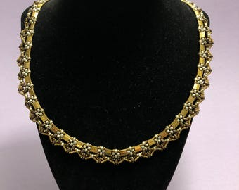 Metallic Brown and Silver Tila Collar Necklace w/ Magnetic Clasp
