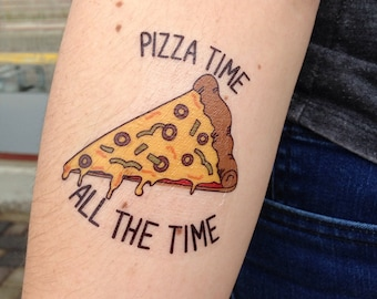 Pizza Temporary Tattoo, Pizza Party Tattoo, Pizza Slice, Pizza Party Favor