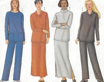 Womens Pullover Sweatshirt Style Tops, Ankle Length Skirt & Pants Butterick Sewing Pattern 3205 Size 14 16 18 Bust 36 38 40 FF Stretch Knits