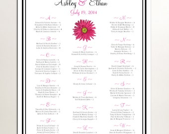 Pink Daisy Seating Chart for Table Assignments for your Wedding Reception - Printable PDF File