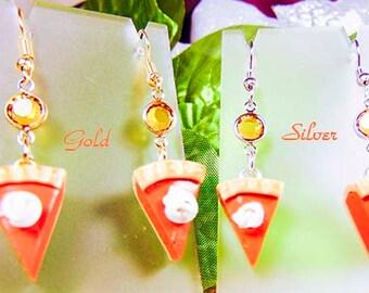 PUMPKIN PIE EARRINGS, pumpkin pie jewelry, Thanksgiving earrings, Thanksgiving jewelry, pumpkin charms, topaz crystal, pumpkin pie - 1104Ho