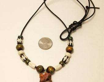 Surfer Necklace on Leather with Rattlesnake Bones #3